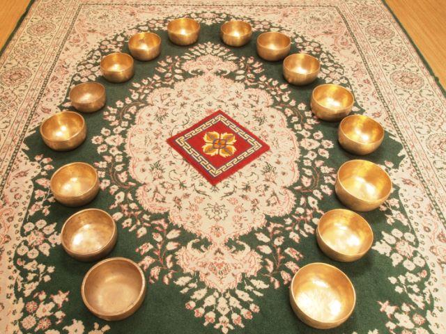 Large Thhadobati set on an oriental carpet