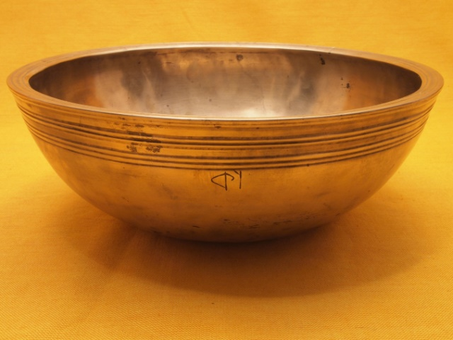 Unusual Antique Manipuri Singing Bowl with broad rim