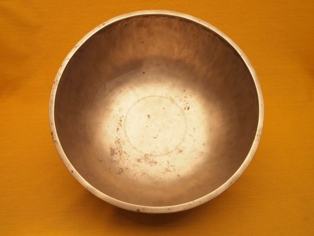 Antique Jambati Singing Bowl with prominent deep tone and inscription