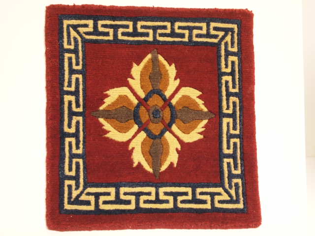 Tibetan Wool Mat Double Dorje - 12x12 Red