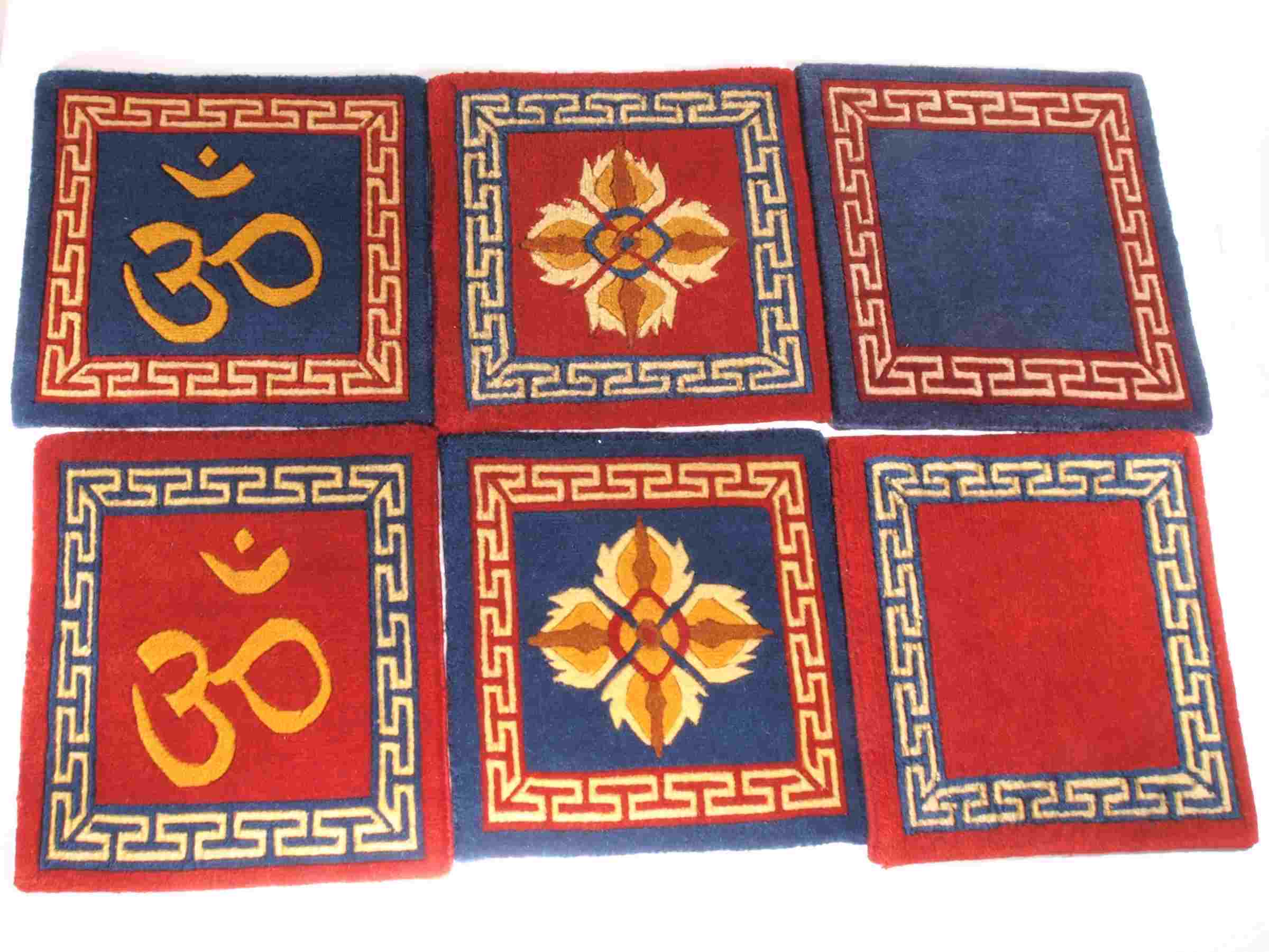 Tibetan Wool Mat Double Dorje - 12x12 Blue