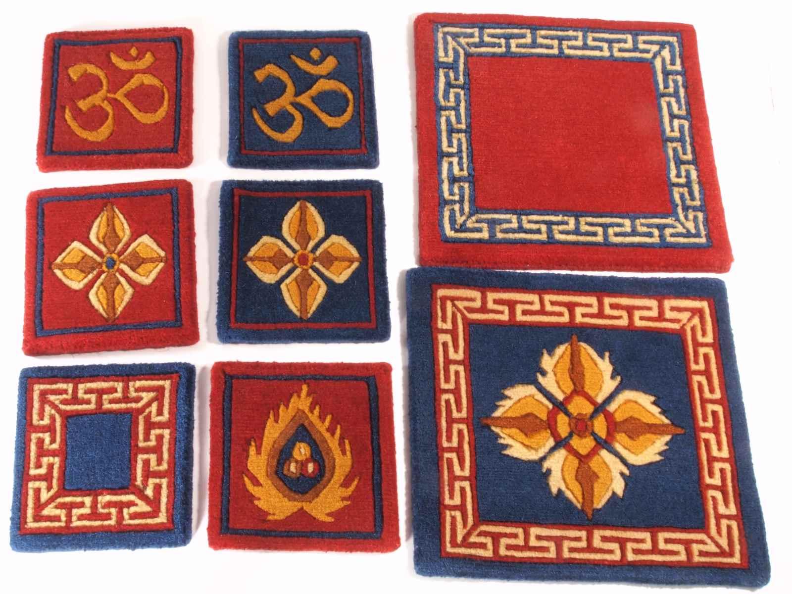 Tibetan Wool Mat Geometric - 12x12 Red